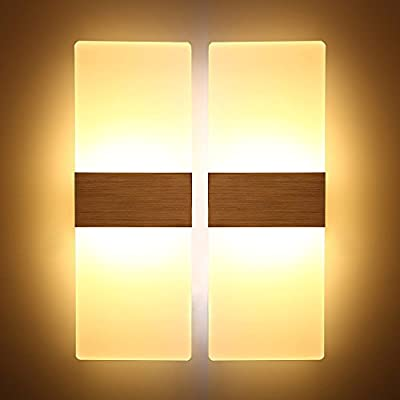 24a9bc49af5c Wall Light 2 Pack Modern Aluminum LED Wall Lights 6W/12w High Quality Sconces  Up Down Light for Living Room Bedroom Corridor (Warm White, ...