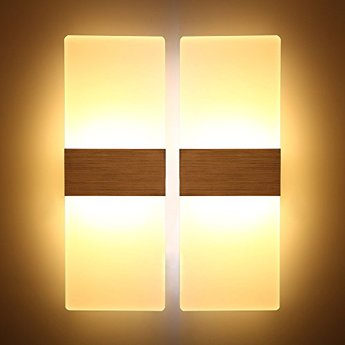 LED Wall Light, Modern LED Wall Sconces Decorative Lamps Night Light for Bathroom, Bedroom, Balcony, Corridor Wall Lighting (6W×2, Warm White)