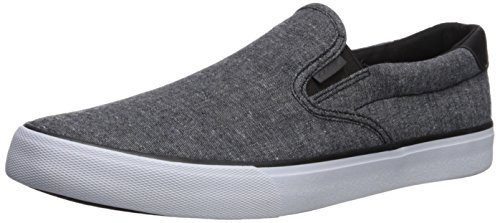 Lugz Men's Clipper Sneaker, Black/White Chambray, 11 M US