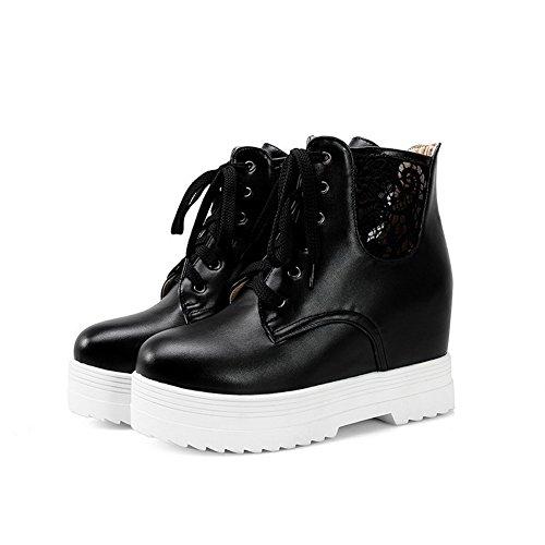 Heels Lace up Women's Black Round Solid AgooLar Toe Kitten PU Boots q6gwa7X