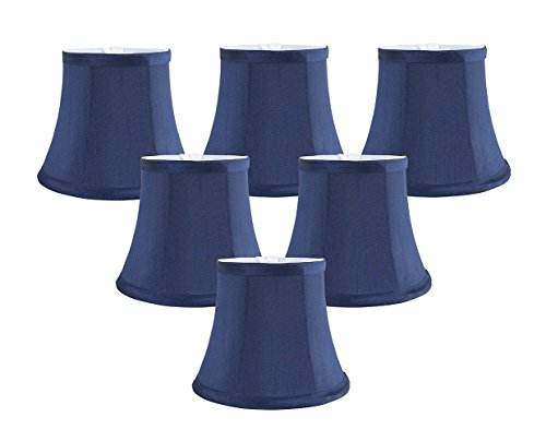 Meriville Set of 6 Blue Faux Silk Clip On Chandelier Lamp Shades, 4-inch by 6-inch by 5-inch ()