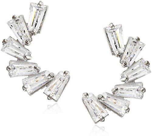 CZ by Kenneth Jay Lane Trend Baguette Cubic Zirconia Pierced Demi Lune Ear Cuffs (4cttw)