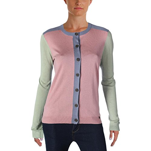 Silk Navy Front Button (Jil Sander Navy Womens Silk Button Front Cardigan Sweater Pink XS)