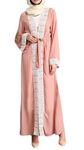 Coolred-femmes Cardigan À Manches Longues Arab Musulman Abaya Robe Rose Palangre