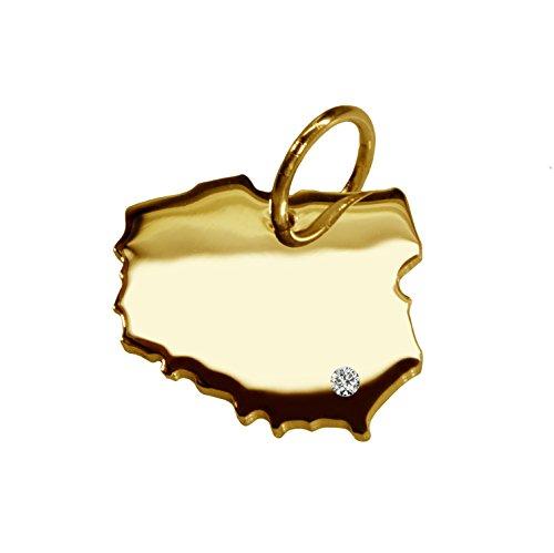 Endroit Exclusif Pologne Carte Pendentif avec brillant à votre Désir (Position au choix.)-massif Or jaune de 585or, artisanat Allemande-585de bijoux
