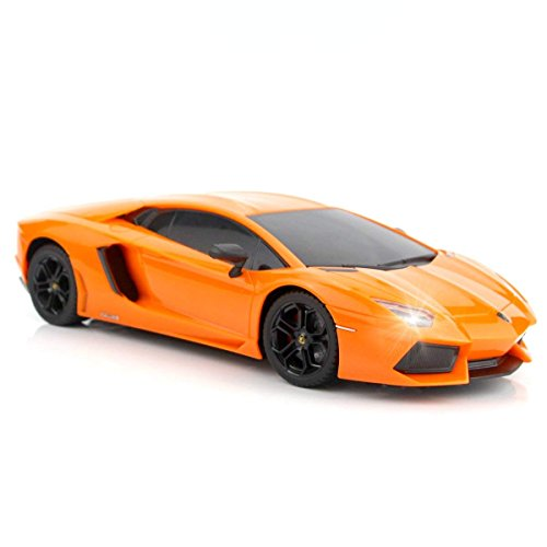QUN FENG RC Car 1:18 Lamborghini Aventador Radio Remote Control Cars Electric Car Sport Racing Hobby Toy Car Grade Licensed Model Vehicle for Kids Boys and Girls Best Gift (Orange)