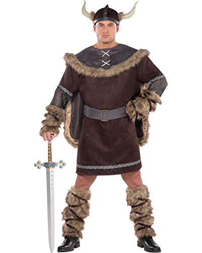 (Amscan AMSCAN Viking Warrior Halloween Costume for Men, Plus Size, with Included)
