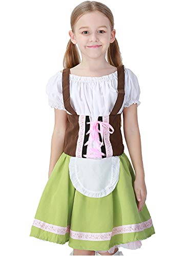 German Girl Costume Child (COSLAND Kids Girls' Lederhosen Oktoberfest Costume Dirndl Bavarian Uniform (Green,)