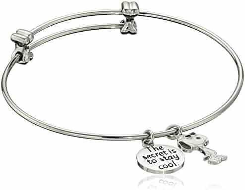Peanuts Stainless Steel Snoopy Charm Bangle Bracelet 7.25