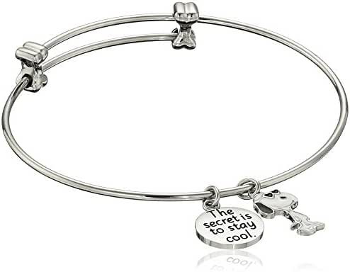Peanuts Stainless Steel Snoopy Charm Bangle Bracelet 7.25