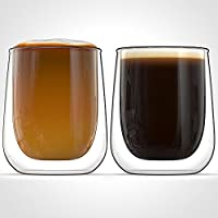 Anchor & Mill Double Walled Insulated Glass Coffee Mugs or Tea Cups for Espresso, Latte, Cappuccino, Thermo Glassware, 9.4 oz. (278 ml), Set of 2, Gift-boxed AM-05