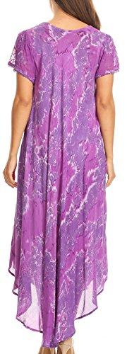 collo Cover Sakkas Lungo caftano manicotto della Dye Viola Dress largo del Sayli Tie Up protezione ricamato zFOqxap