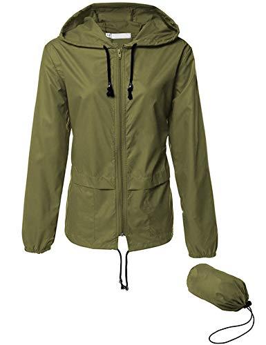 (Women Quick Dry Windbreaker, Summer Lightweight Hooded Active Sportswear Jacket Outerwear Army Green XL)