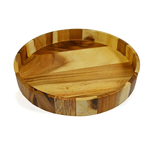 (RoRo Acacia Handmade Wood Round Serving Tray, 12 Inch)