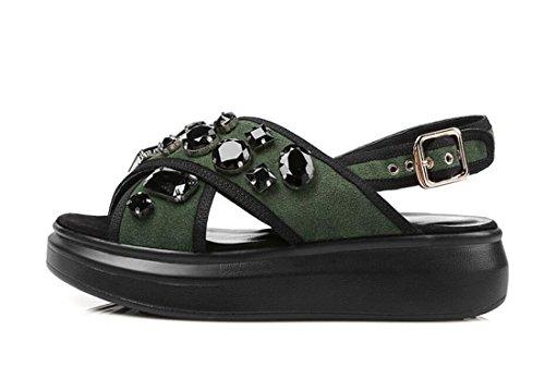 De Señoras Verde Cuña Libre Al Zapatos Verano Plano Mujer Casual Talón Aire Moda Imitación Sandalias Diamantes 1xqSZdx