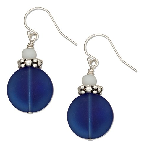 Sterling Silver Cobalt Deep Ocean Blue Sea Glass Earrings with White Glass Bead