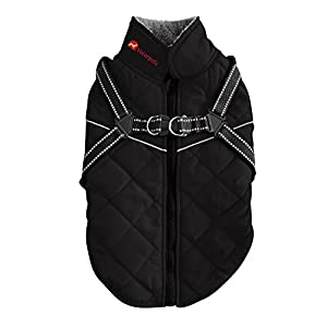 Reflective Dog Jacket With Harness - Windproof and Waterproof Dog Jacket with Reflective Strip - Warm and Cozy Dog Sport Vest - Black - Diamond Quilted - Extra Small