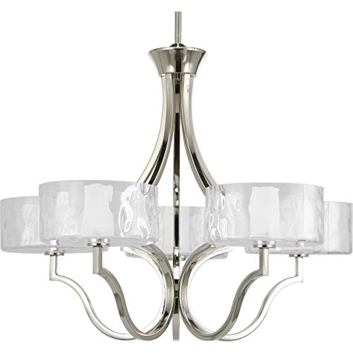 Caress Collection - Progress Lighting P4645-104WB Caress Collection 5-Light Chandelier, Polished Nickel