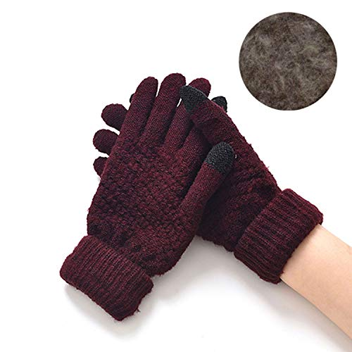 (Women Warm Winter Knitted Full Finger Gloves Mittens Girl Female Woolen Gloves,velvet wine red)