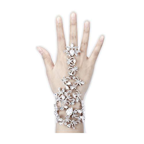 (BriLove Women's Costume Fashion Crystal Leaf Teardrop Adjustable Ring Bracelet Clear Silver-Tone)