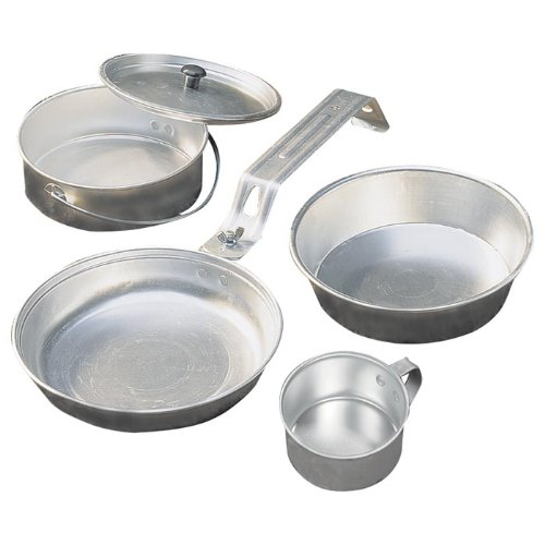 Campfire Cooking Equipment And Pans For Cooking - Coleman 5-Piece Aluminum Mess Kit
