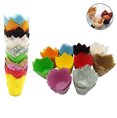 (200 PCS Tulip Cupcake Liner Baking Cups Paper Cupcake and Muffin Baking Cups for Baby Showers,Weddings, Birthdays, Colourful and Natural (Brown, Red, Yellow, Blue, Green,Blue,Orange,Pink,Gold,Coffe))