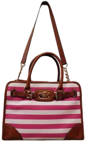 d761a0ba10e9 Amazon.com  Michael kors Hamilton Canvas Large East West EW Pink White  Striped Satchel  Clothing