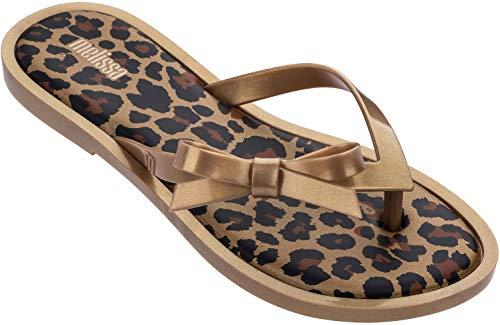 Melissa Womens Flip Flop Animal Sandal, Gold Glitter, Size 8