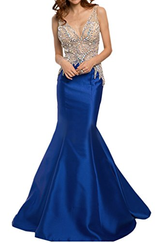 Ivydressing Promkleid Abendkleider Luxurioes Festkleid Royalblau Damen Mermaid Satin Strass Rueckenfrei Lang 1160Hrqx