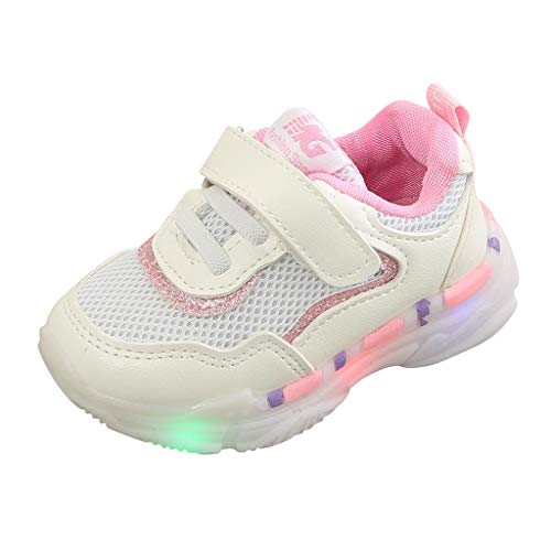 WENSY Children Baby Girl Boy Girl Led Luminous Mesh Sneakers Breathable Running Shoes Wear Baby Walking Shoes (Pink,26) -