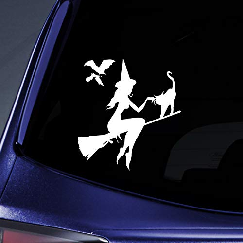 Bargain Max Decals Halloween Witch Silhouette Sticker Decal Notebook Car Laptop 5.5
