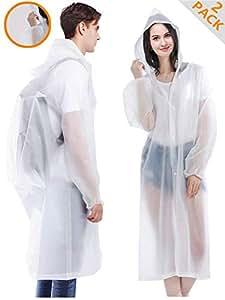 "HLK Sports Rain Poncho, [2 Pack] Reusable EVA Rain Coats, Size 59"" by 27.5"""