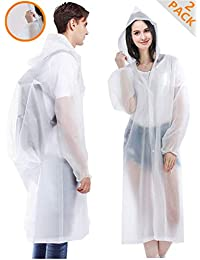 "Rain Coats, [2 Pack] EVA Reusable Rain Ponchos Raincoats with Hood, Size 59"" by 27.5"""