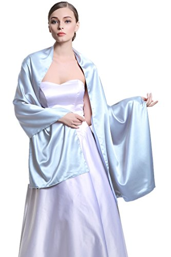 Women's Bridal Party Evening/Wedding Silk Satin Shawl Wrap 25 Colors S58 Light Blue