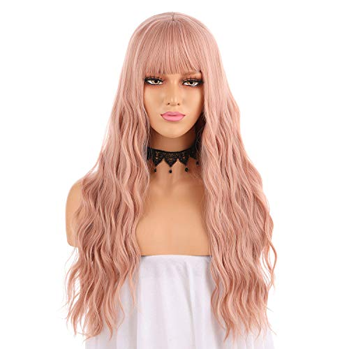 eNilecor Orange Pink Wigs, Long Rose Gold Curly Wavy Wig with Bangs Colored Cosplay Custom Party Pastel Lolita Synthetic Wigs for Women