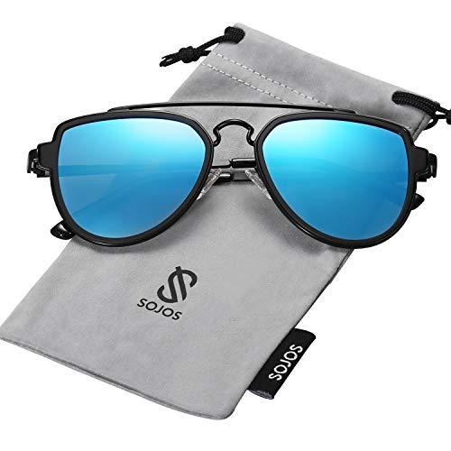 SOJOS Fashion Polarized Aviator Sunglasses for Men Women Mirrored Lens SJ1051 with Black Frame/Blue Mirrored Polarized ()
