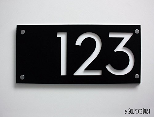 Modern House Numbers, Rectangle Black with White Acrylic - Contemporary Home Address -Sign Plaque - Door Number