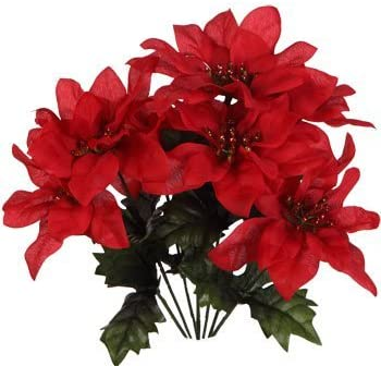 Amazon Com Pack Of 4 Christmas House 7 Stem Red Poinsettia Bushes With Glittered Accents 13 Home Kitchen