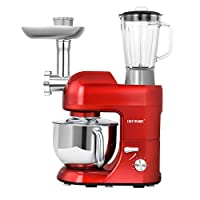 CHEFTRONIC Stand Mixer Tilt-Head 120V/650W Electric Stand Mixer with 5.5QT Stainless Bowl, 6 Speed Multifunctional Kitchen Mixer, Meat grinder, Sausage stuffer, Pasta maker and Blender