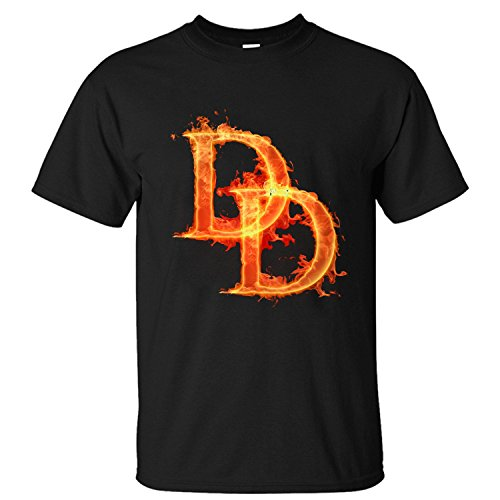 [BMWW Men's Daredevil Cartoon Comics Costume Super Hero Cotton T Shirt black XXL] (Daredevil Black Costumes)