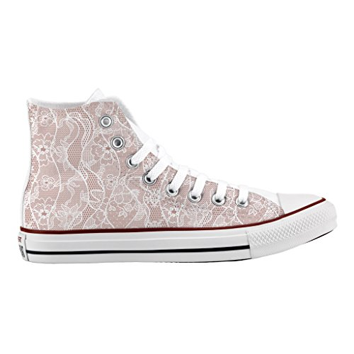Scarpe Converse Personalizzate All Star Alta - sneakers stampa High flowers lace