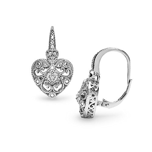 Sterling Silver Heart Filigree Diamond Accent Leverback Drop Earrings, IJ-I3 (Diamond Earrings Filigree)