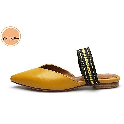 GJDE Zapatos Casuales Sandalias de Verano y Zapatillas Señalaron Mezclados Gruesa con Sandalias Yellow