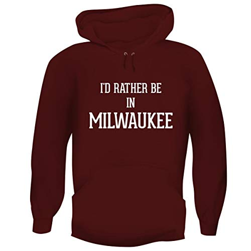 I'd Rather Be in Milwaukee - Hashtag Men's Funny Soft Adult Hoodie Pullover, Maroon, XX-Large ()