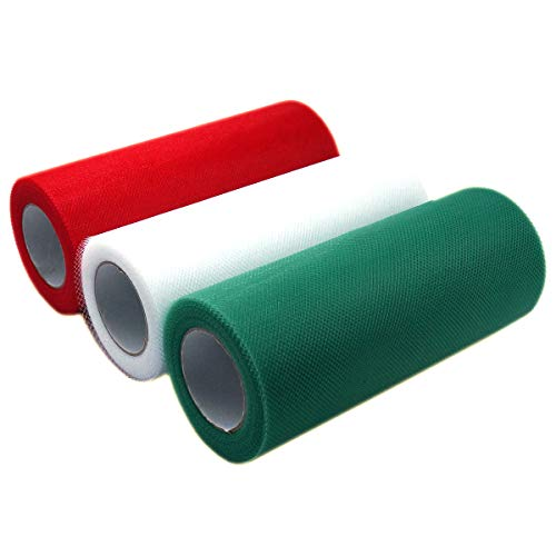 (Misscrafts 3 Spools Tulle Netting Ribbons 3 Colors Tulle Fabric Spool 6 Inches 75 Feet per Roll for DIY Wedding Tutu Valentine Decor Red Green)