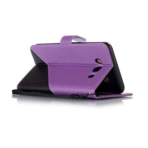 Sony Xperia XZ Funda de Cuero PU (con Gratis Lápiz táctil) CaseHome Costura de Color Billetera Diseño conRanuras para Tarjetas e Correa para la MuñecaCierre Magnético Folio Flip Característica del S Negro y Púrpura