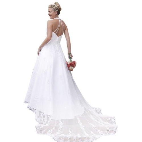 halter Eine Online Elfenbein Hochzeitskleider Zug BRIDE GEORGE Kapelle ueber Brautkleider Spitze Satin 5tqwSxE