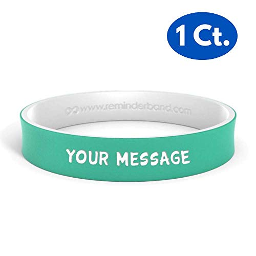(Reminderband - Custom Dual Layer 100% Silicone Wristband - Personalized Silicone Rubber Bracelet - Customized, Events, Gifts, Support, Causes, Fundraisers, Awareness - Men, Women, Kids)