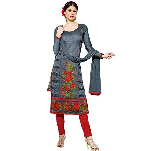 Designer Silk Embroidered Ready made Salwar Kameez Suit Indian – 0X, Grey