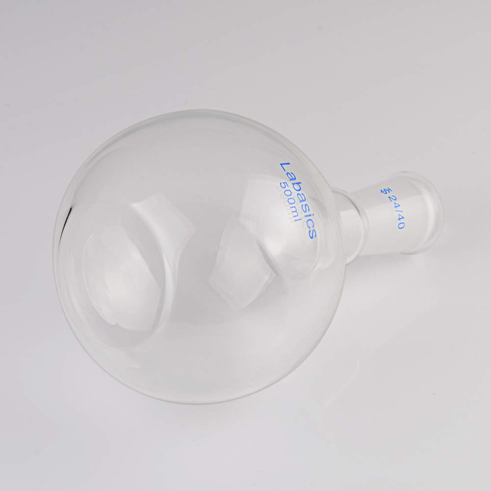 500ml with 24//40 Standard Taper Outer Joint Labasics Glass 500ml Single Neck Flat Bottom Boiling Flask